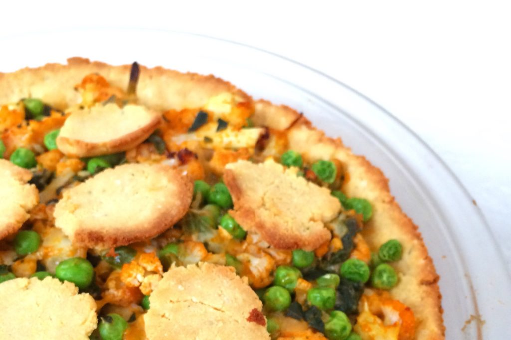 Buffalo Cauliflower Keto Pot Pie   Low carb, grain free, gluten free, nut free, vegetarian