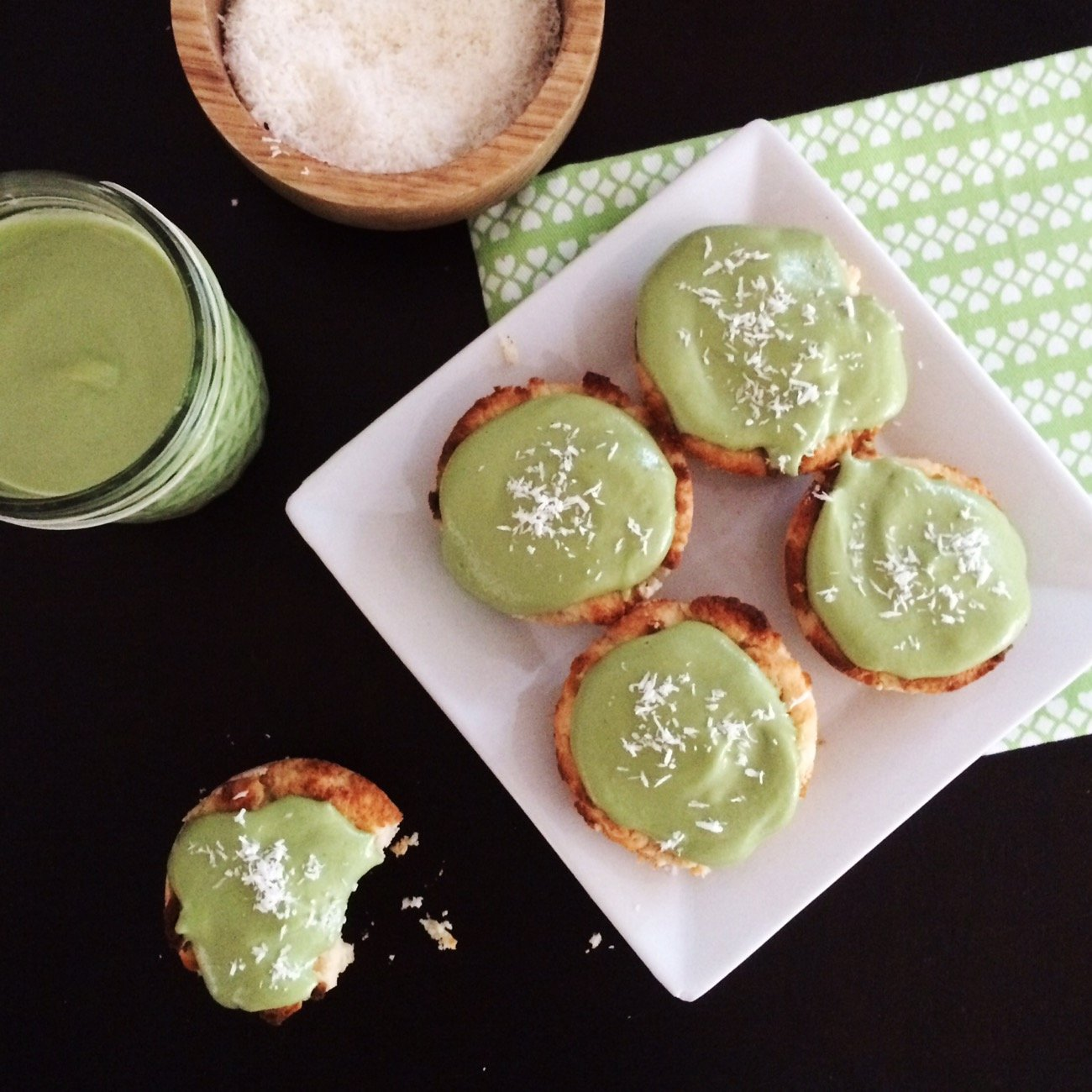 Low Carb Vegan Cupcakes - Matcha Coconut | These gluten free, vegan cupcakes are sugar free, keto friendly and super delicious!