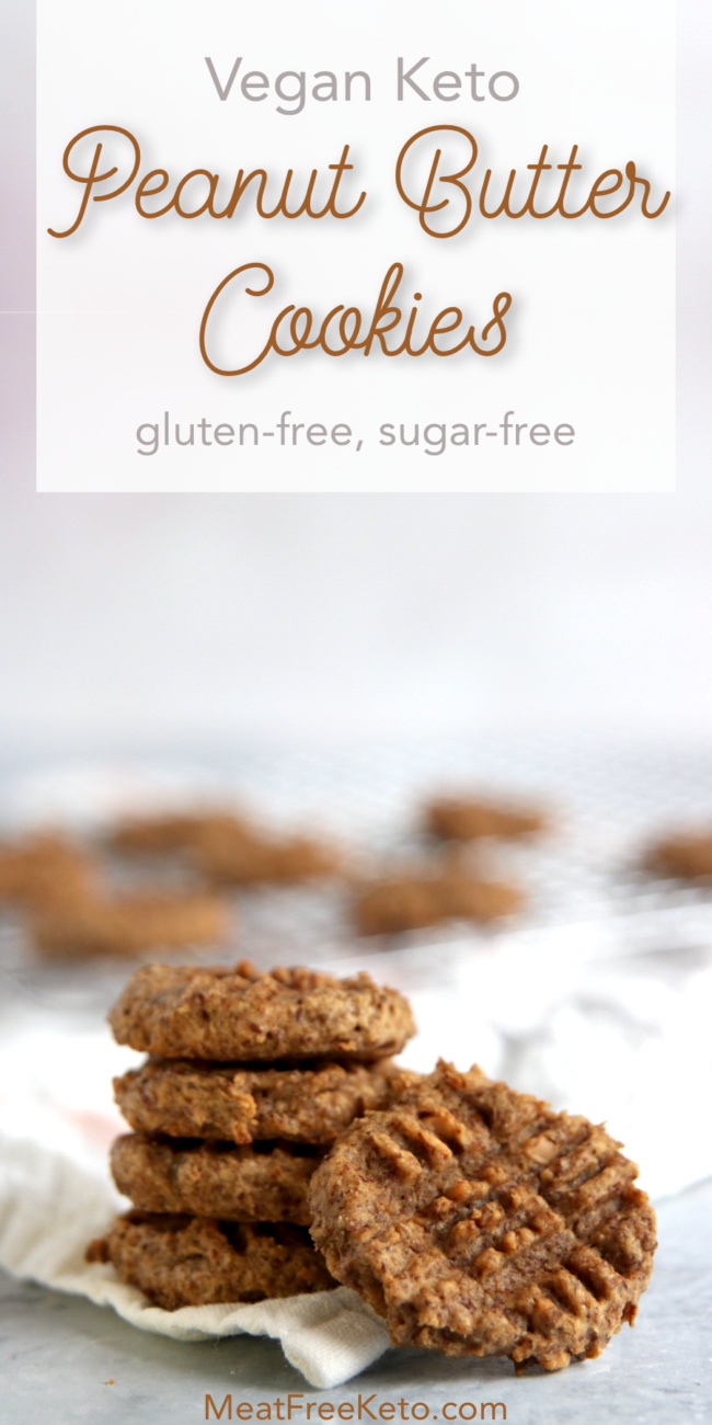 Vegan Keto Peanut Butter Cookies   MeatFreeKeto.com - These gluten-free, low carb, flourless, vegan keto peanut butter cookies are a simple treat that is easy to make, and full of omega-3 fatty acids and protein.