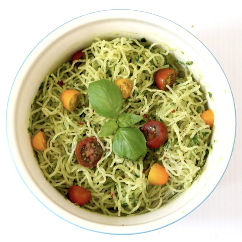 Kelp Noodles With Avocado Pesto (low carb, gluten free, nut free, raw)
