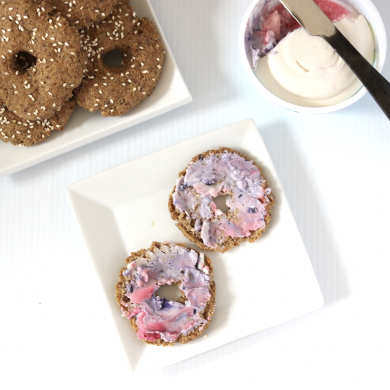 Low Carb Vegan Bagel Thins | Meat Free Keto - these gluten free, nut free, paleo and keto-friendly bagel thins toast up nice and crispy, and a perfect compliment to cream cheese!