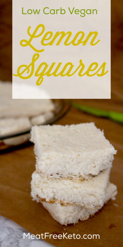 Low Carb Vegan Lemon Squares | Meat Free Keto - These low carb vegan lemon squares are a tangy and delicious dessert, full of medium chain triglycerides, fiber and omega-3 fatty acids! They're also soy free, sugar free, nut free, gluten free and super easy to make!