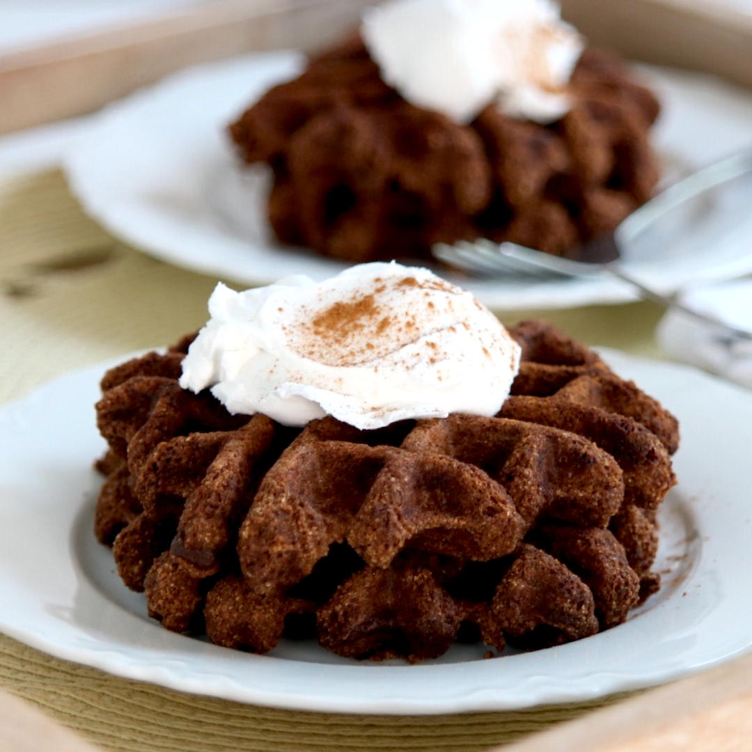 Vegan Keto Chocolate Waffles (gluten-free, nut-free, soy-free)