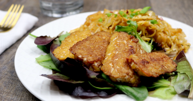 Low Carb Vegan Smokey Maple Tempeh   Meat Free Keto - sweet, salty, smokey and delicious, this easy vegan keto dinner option is low carb and loaded with complete protein!