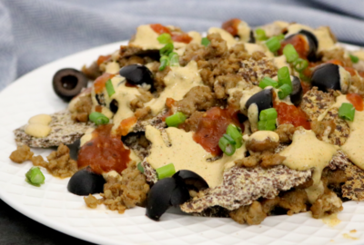 Low Carb Vegan Nachos Con Queso | Meat Free Keto - These low carb vegan keto nachos are surprisingly easy to make, high in fiber and omega-3 fatty acids and the perfect dairy free game day snack!