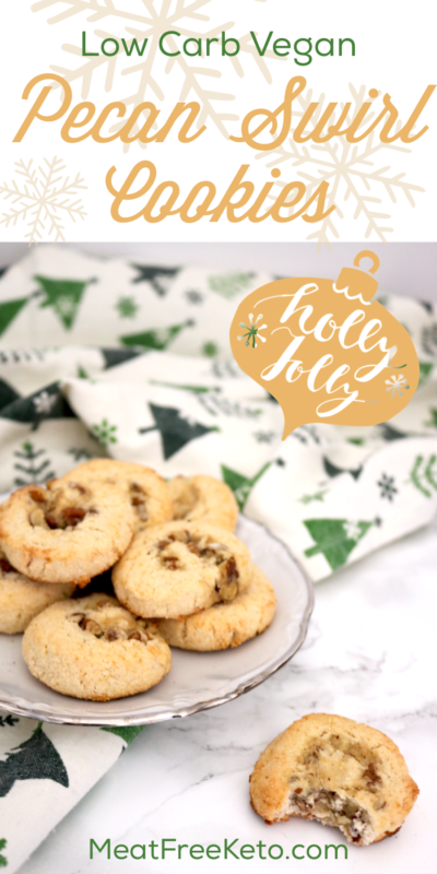 Low Carb Vegan Pecan Swirl Cookies | Meat Free Keto - These low carb vegan pecan swirl cookies are gluten free, sugar free, dairy free and make a delicious addition to any keto holiday celebration!