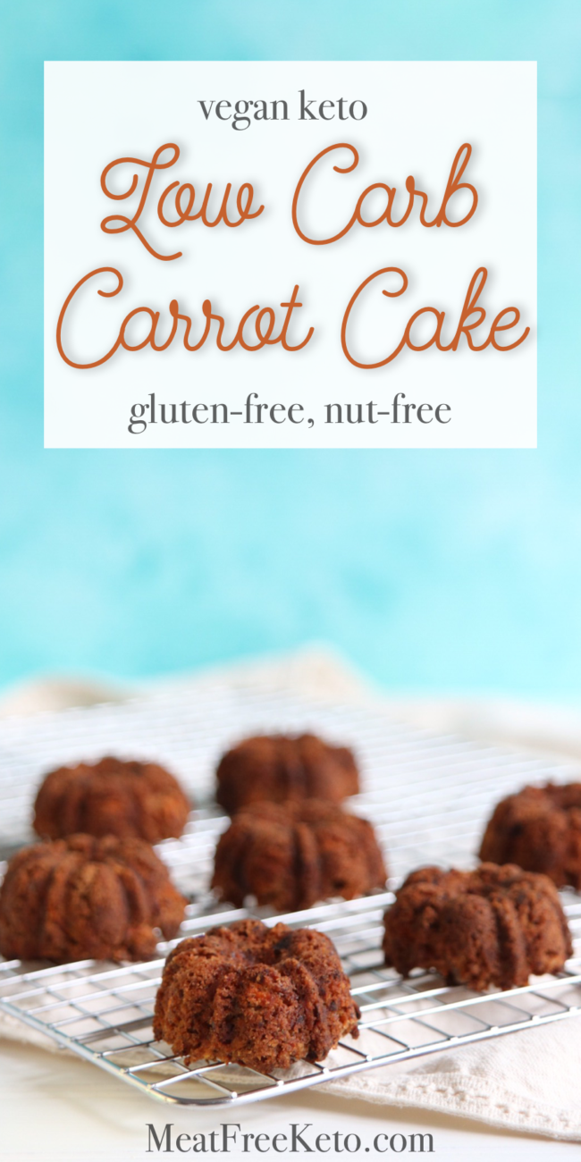 Low Carb Vegan Carrot Cake | MeatFreeKeto.com - These nut-free, gluten-free mini low carb vegan carrot cakes are easy to make, and totally delicious! They're the perfect vegan keto spring dessert (and they just so happen to be paleo, too).
