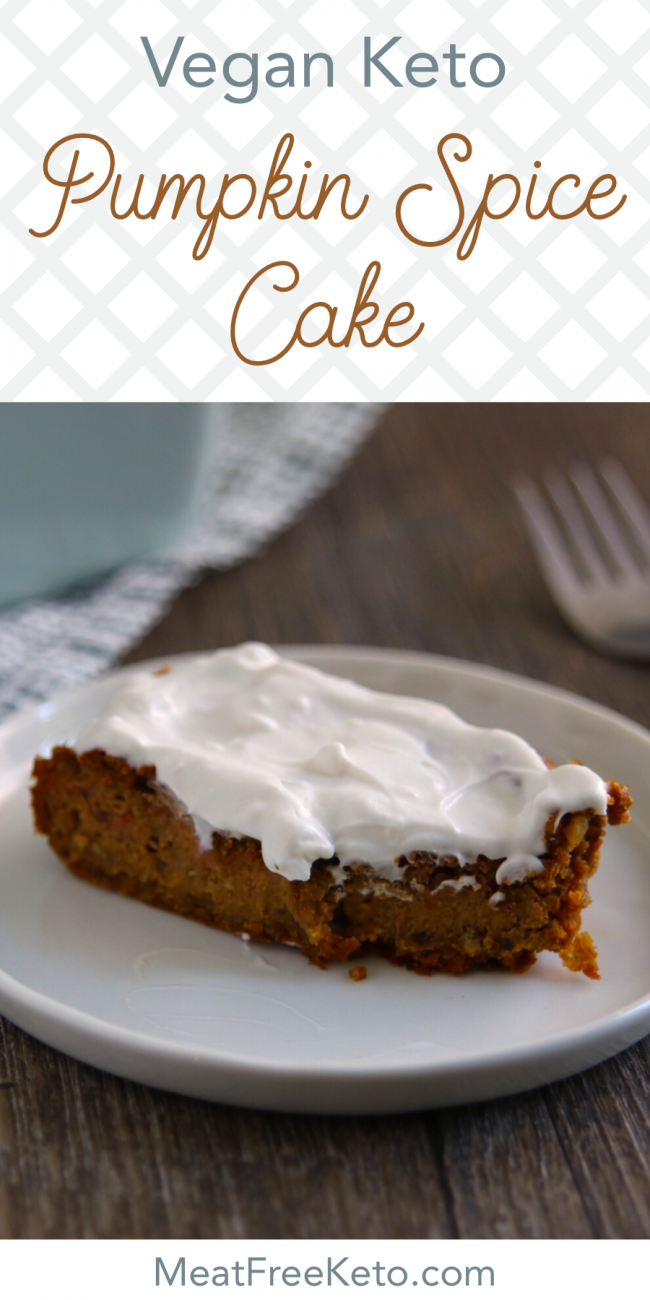 Vegan Keto Pumpkin Spice Cake | MeatFreeKeto.com -This nut-free, dairy-free, egg-free, gluten-free and keto breakfast treat is delicious, warming and easy to throw together. It's best served straight from the pan, patty-cake style.
