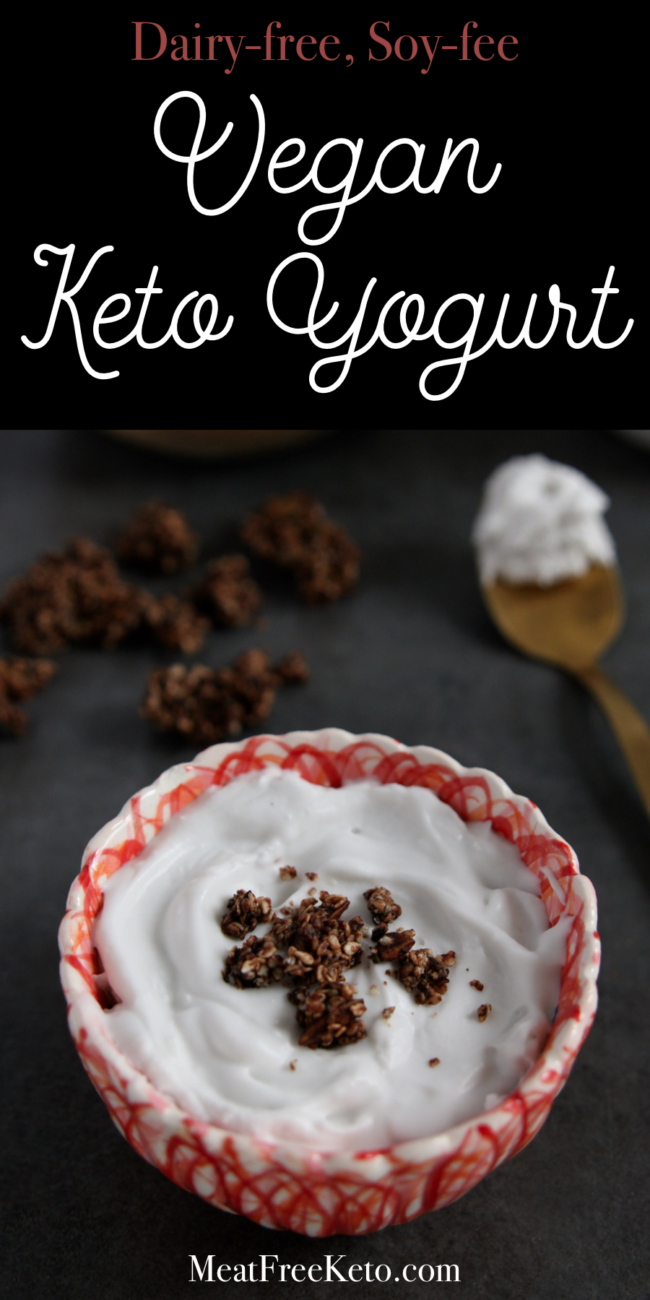 Keto Fermented Foods: Low Carb Vegan Yogurt - MeatFreeKeto.com - this dairy-free, soy-free, keto-friendly yogurt recipe requires just two ingredients and makes the best vegan yogurt I have ever had.