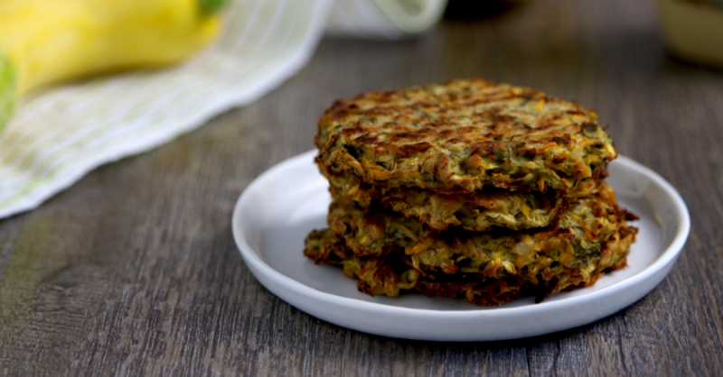 Vegan Keto Zucchini Fritters | MeatFreeKeto.com - These low carb vegan zucchini cakes are easy to throw together, super tasty and gluten-free, egg-free, dairy-free, nut-free, soy-free and coconut-free. They're also a good source of protein!