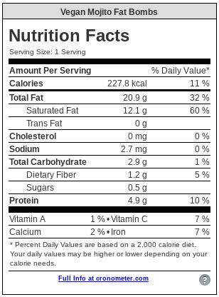 vegan mojito fat bomb nutrition